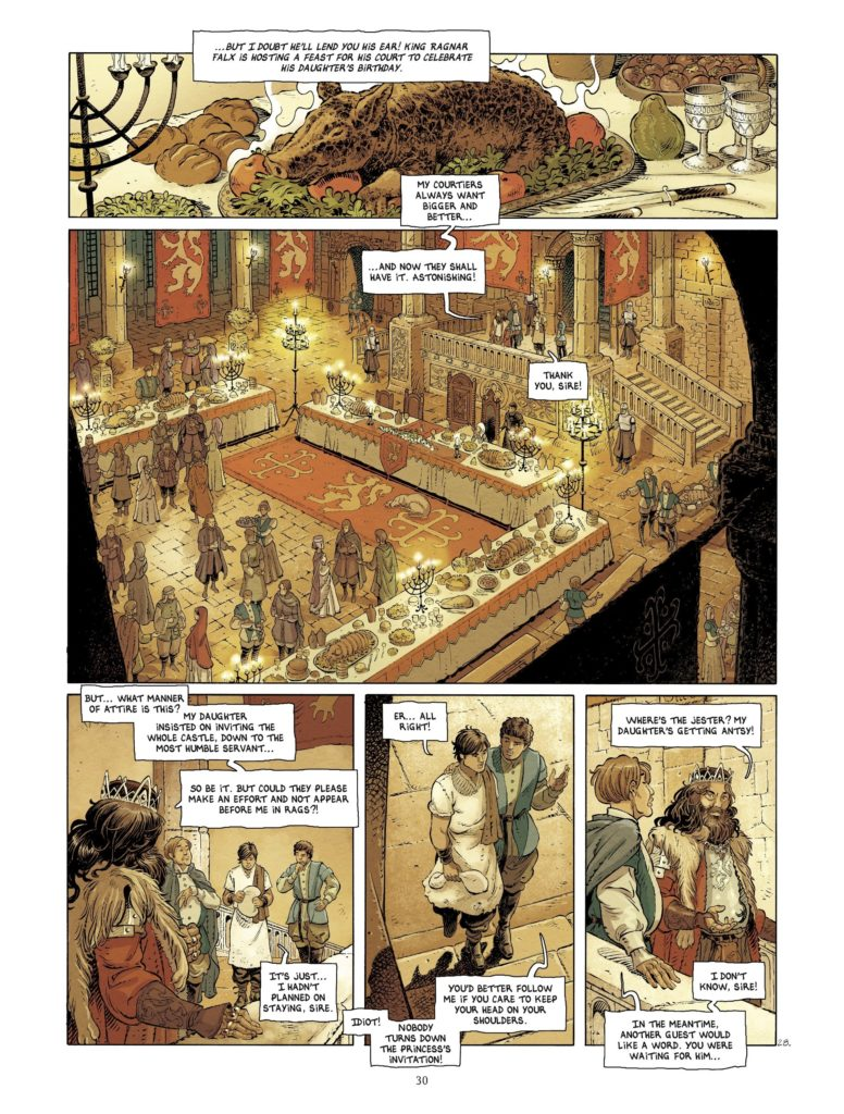 Interiors of the castle in Layla Page 30. Written by Jérémy, drawn by Mika. Published by Europe Comics. April 17, 2019.