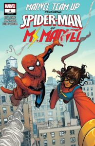 Ms. Marvel and Spider-Man swing across a NYC skyline