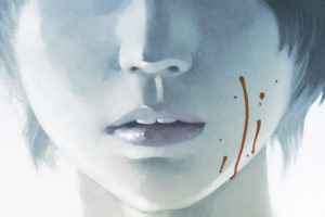 Otaku Blue Cover. Written by Richard Marazano, drawn by Malo Kerfriden. Published by Europe Comics. April 17, 2019. - Close-up of a pale face from the cheeks down, with a bit of blood on the left cheek