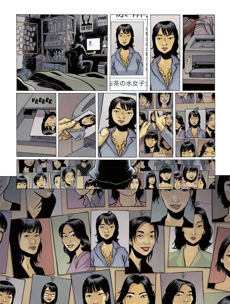 Pictures of several missing women in Otaku Blue Page 53. Written by Richard Marazano, drawn by Malo Kerfriden. Published by Europe Comics. April 17, 2019.