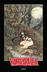 Vampirella Lithograph by Joyce Chin, being sold in support of her medical care by Dynamite Comics. C Dynamite Comics 2019 - Vampirella huddles under a gnarled old tree in the light of the full moon