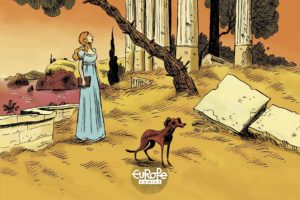 Shelley Volume 2 Cover. Written by Vandermeulen and drawn by Daniel Casanave. Published by Europe Comics. April 17, 2019. - A red-haired woman in a gown and a skinny dog observe a grassy landscape with antique columns in the background