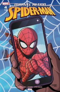 Marvel Action: Spider-Man #4 cover by Christopher Jones - A hand holding a phone displaying an image of Spider-man doing a web-slinging gesture
