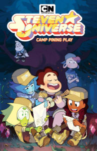 Cover for Steven Universe: Camp Pining Play Nimali Abeyratne (colorist), Mike Fiorentino (letterer), Nicole Mannino (writer), Lisa Sterle (artist) KaBOOM! April 17, 2019 - Steven plays ukelele and sings, surrounded by Lapis, Peridot, and Connie, while Lars and Onion look on