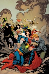 Lois and Jimmy holding a Kryptonite strapped Superman while the JLA watches through smoke