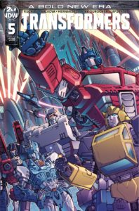 Transformers #5 cover by Andrew Griffith. - Several Transformers stand ready for battle
