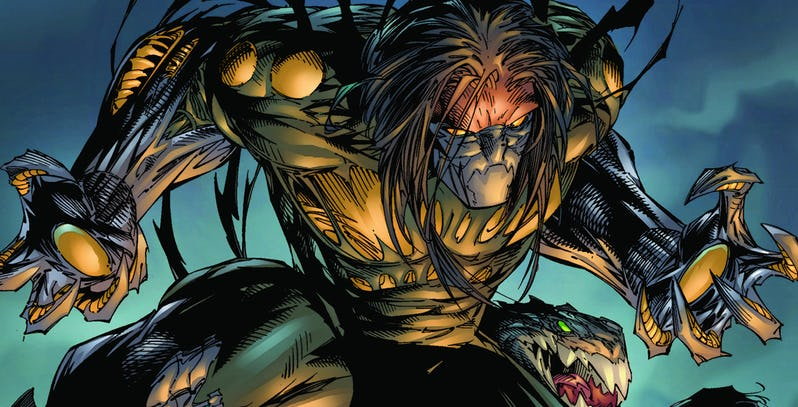 The Darkness (art by Marc Silvstri, Top Cow Productions) - A muscular figure wearing clawed gloves and a half-face mask glowers offscreen