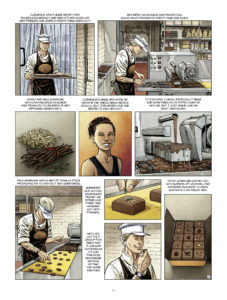 The Master Chocolatier - The Boutique Page 22. Written by Eric Corbeyran and Bénédicte Gourdon, and drawn by Chetville. Published by Europe Comics. May 15, 2019.