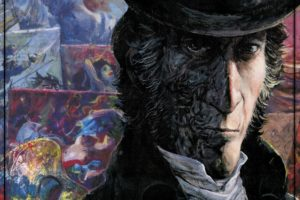 The Revenge of Count Skarbek Cover. Written by Yves Sente, drawn by Grzegorz Rosinski. Published by Europe Comics. April 17, 2019. - A man wearing a black top hat with salt-and-pepper sideburns looks at the viewer, half his face scarred and in shadow