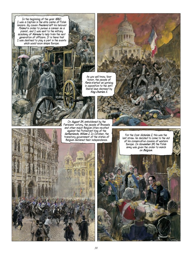 A life in four parts in The Revenge of Count Skarbek Page 30. Written by Yves Sente, drawn by Grzegorz Rosinski. Published by Europe Comics. April 17, 2019.