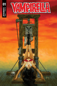 Cover for Vampirella - Frank Cho, Joe Jusko, Guillem March, Alex Ross; Art: Ergun Gunduz. Writer: Christopher Priest; C Dynamite Comics July 2019 - Vampirella hangs upside-down, suspended from a guillotine