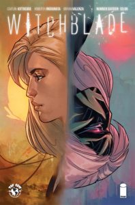 Witchblade #16 (Top Cow Comics, June 2019) - Two faces in profile, one a young blonde woman, the other a masked figure with pink hair