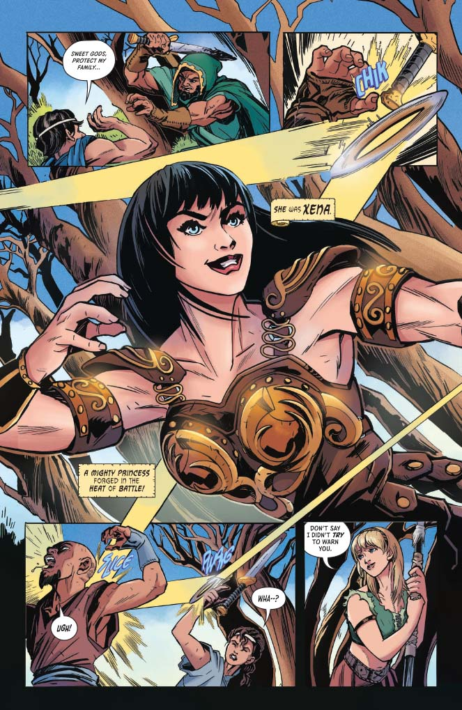 Panel Art from Xena #1 Raul Allen & Patricia Martin, Erica Henderson, Paulina Ganucheau, Emanuela Lupacchino, David Mack (Covers), Vita Ayala (writer), Ariana Maher (lettering), Rebecca Nalty (colors), Olympia Sweetnam (art) C April 2019 Dynamite Comics