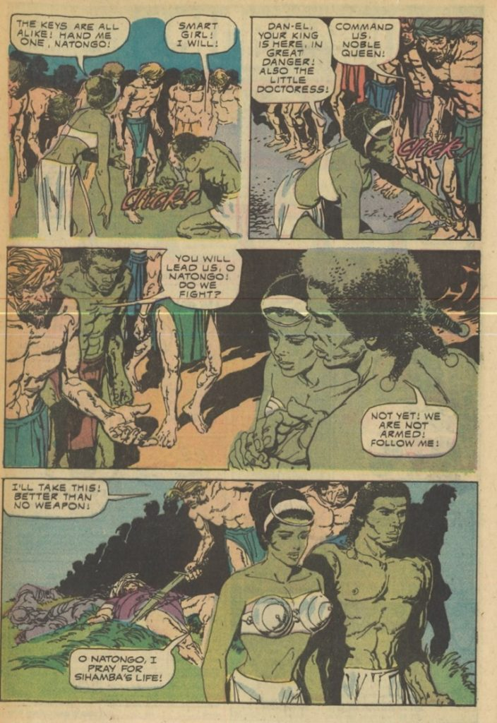 Scan of a man and woman with green skin from Brothers of the Spear #11 - Gold Key Comics, 1974