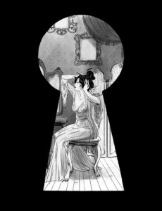The Countess, an elegant woman, sits at a vanity and dresses her hair. Her image is shown through a keyhole.