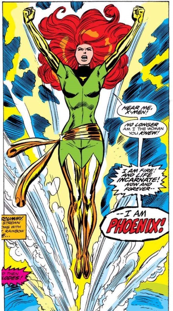 Jean Grey rises from the water as the Phoenix