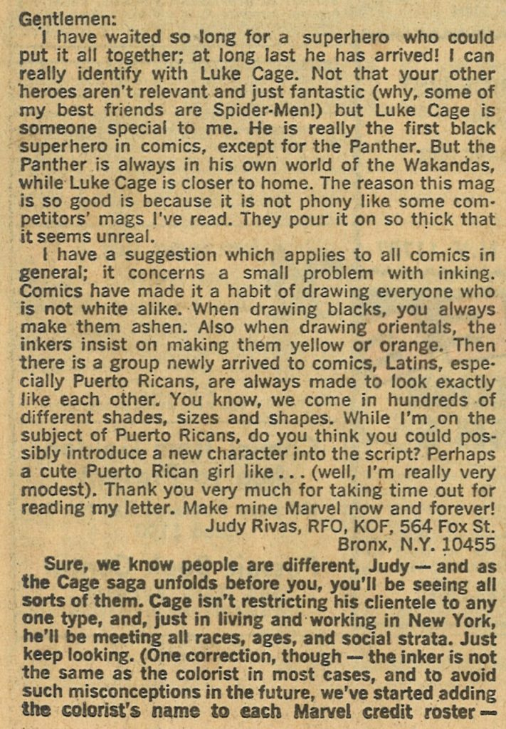 Letter by fan Judy Rivas, printed in the back of Luke Cage: Hero for Hire #5 (1972)