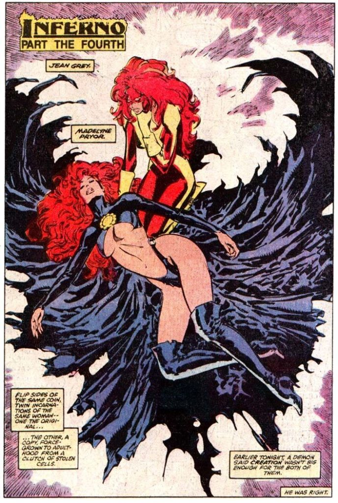The Goblin Queen lies dead before Jean Grey, who kneels, mourning her death after defeating her in battle