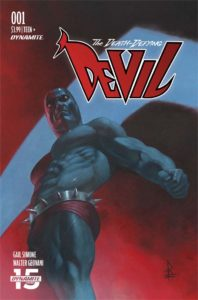 Federici cover of The Death-Defying 'Devil #1, C Dynamite August 2019 - A muscular figure wearing a spiked belt over dark red briefs looks down at the viewer
