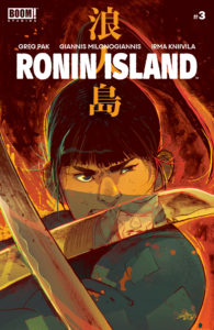 Cover for Ronin Island #3, Giannis Milonogiannis, BOOM! Studios, 2019 - A person with short black hair crosses swords with an enemy, who is reflected in the crossing sword