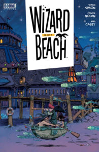 Wizard Beach #5, Cover by Conor Nolan, BOOM! Studios, 2019 - Two people - a man in a wizardly hat and a figure with red hair holding out a telescope - row a floating ship, followed by floating jellyfish