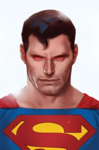 Cover for Action Comics #1012 - Superman looking at the reader with heat vision eyes