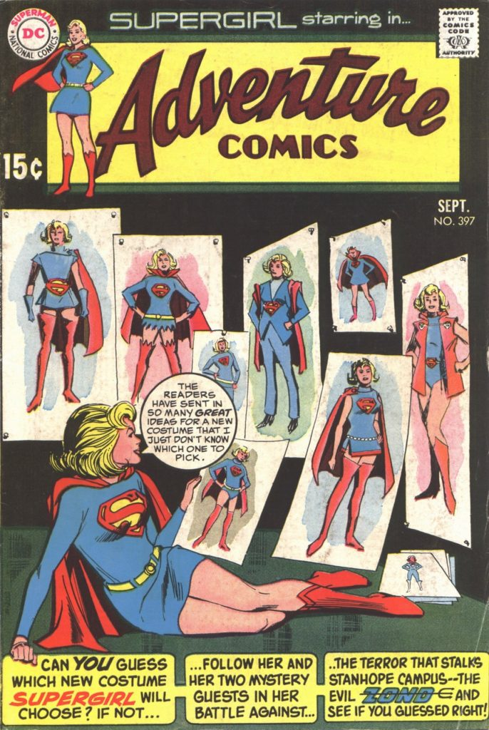 Supergirl checks out several fanmade costume designs