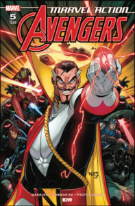 Marvel Action: Avengers #5 Cover A by Jon Sommariva. Published by IDW Publishing. - Doctor Strange smiles triumphantly, holding a flashing red gem