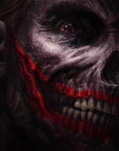 Cover for Batman Damned #3 - Terrifying skull-like Joker face