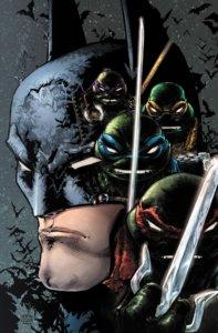 Cover of Batman/Teenage Mutant Ninja Turtles III #2 - Profile of Batman behind shadowed heads of the Ninja Turtles