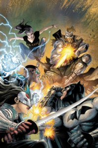 Cover for Batman & The Outsiders #2 - The Outsiders fighting a mercenary with a big gun