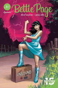 "Julia Ohta variant for Bettie Page: Unbound #1 David Avallone (writer), Scott Chantler, Julius Ohta, John Royle and Mohan, David Williams and Kelsey Shannon (Covers), Sheelagh D (color flats), Taylor Esposito (letters), Julius Ohta (art), Ellie Wright (colors) June 5th, 2019 Dynamite Comics - Bettie, in a green minidress and boots, steps on a suitcase labeled ""Unbound"" while gesturing defiantly at a swirling red portal behind her"