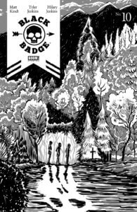 Cover for Black Badge #10, Matt Kindt, BOOM! Studios, May 2019 - A black-and-white illustration of three figures walking through a forest