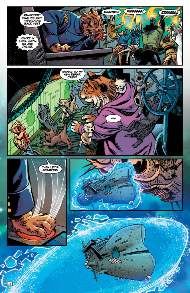 Ramscoop and her kittens stabilize the ship in Captain Ginger Volume 1 Page 17. Written by Scott Moore and drawn by June Brigman and Roy Richardson. Published by Ahoy Comics. June 18, 2019.