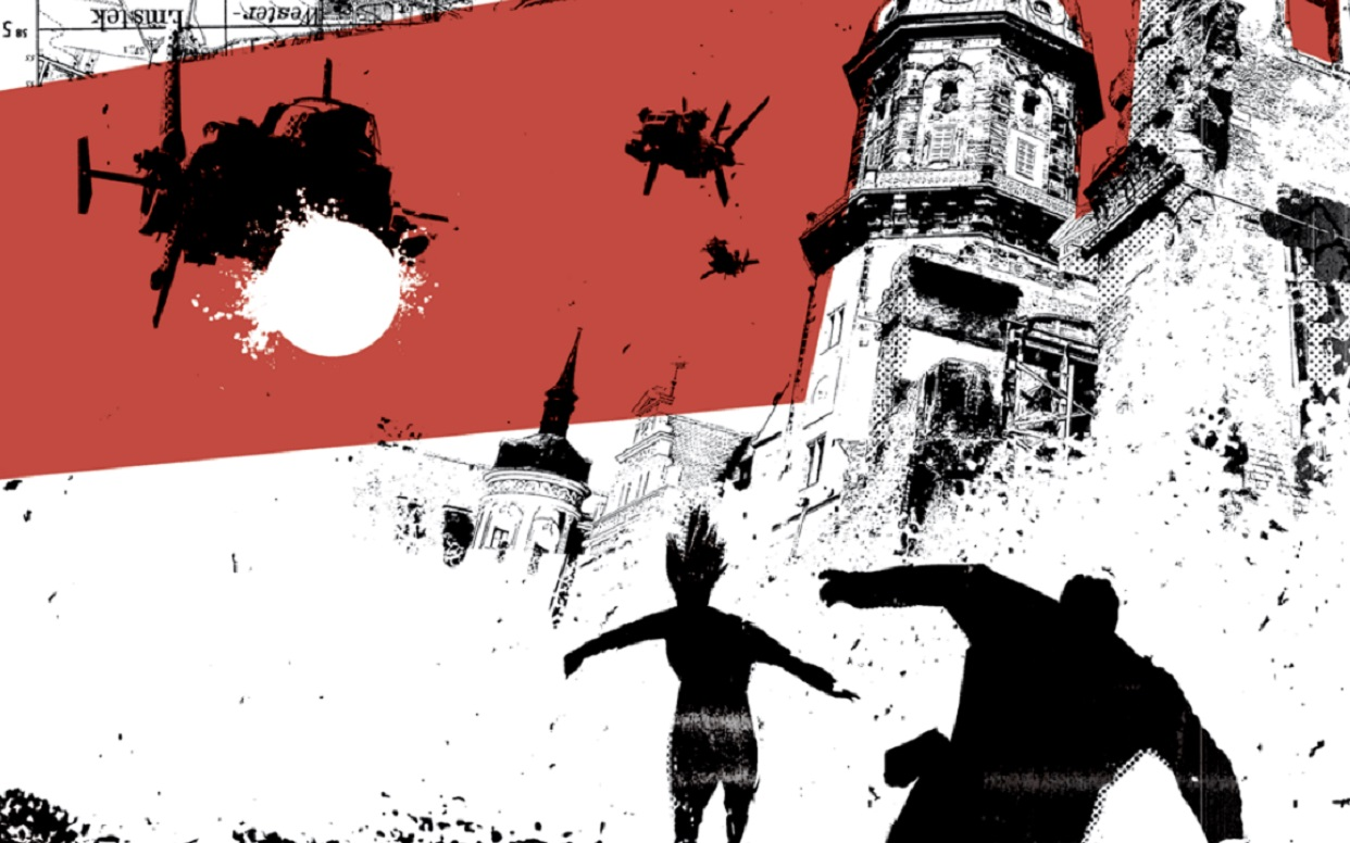 Part of Cemetery Beach front cover. in silhouette, a helicopter is chasing two figures across a red and white background.