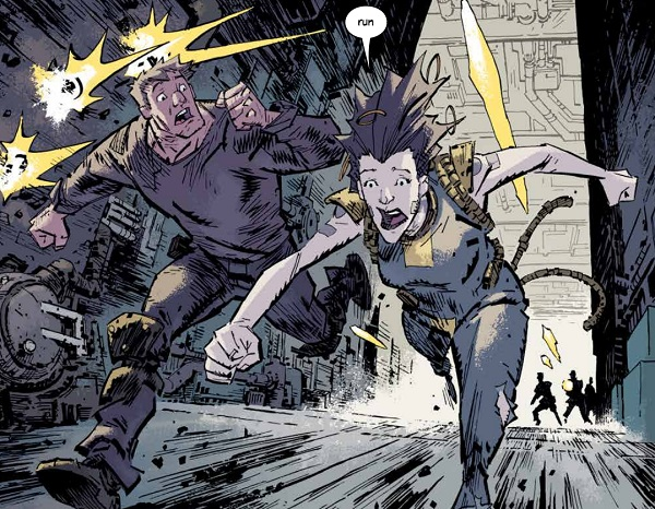 Mike Blackburn and Grace Moody have panicked faces as they run from distant figures who are shooting at them