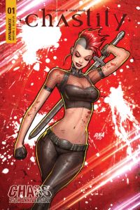 David Nakayama cover for Chastity #1, Leah Williams (writing), Daniel Maine (art) C 2019 Dynamite comics