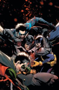 Cover for DCeased #2 - Zombie Batgirl, Nightwing and Robin attacking Batman