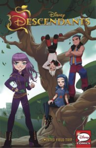 Descendants: Twisted Field Trip Cover by Anna Cattish. Published by IDW Publishing. June 26, 2019. Published by IDW Publishing. June 26, 2019. - A group of young people stand, sit, or hang around a tree