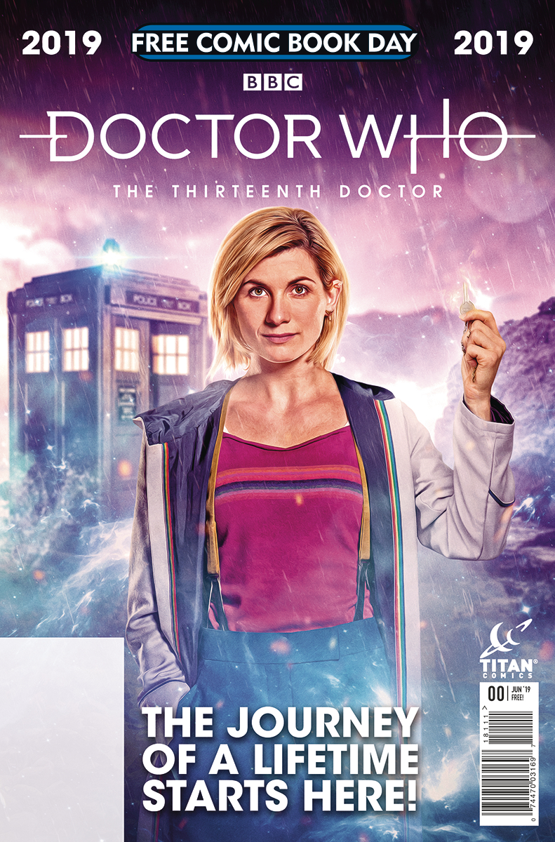 Cover for Doctor Who: The Thirteenth Doctor, Free Comic Book Day 2019 - A woman holds a key with a police box in the background