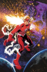 "Cover for Flash Forward #1 - Brett Booth (pencils), Luis Guerrero (colors), Scott Lobdell (writer), ALW's Troy Peteri (letters), Norm Rapmund (inks), Evan ""Doc"" Shaner (cover) - Wally West Flash in front of a space scape"
