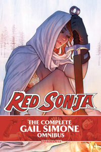Cover for Gail Simone's RS Omnibus, C 2019 Dynamite Comics - A hooded Red Sonja sits at rest, holding a sword