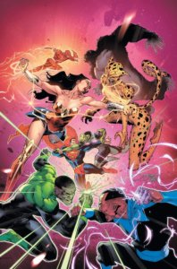 Cover for Justice League #25 - The Justice League fighting their future selves