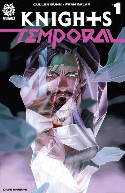 Cover for Knights Temporal #1 - The face of a bearded man stares out from shattered glass