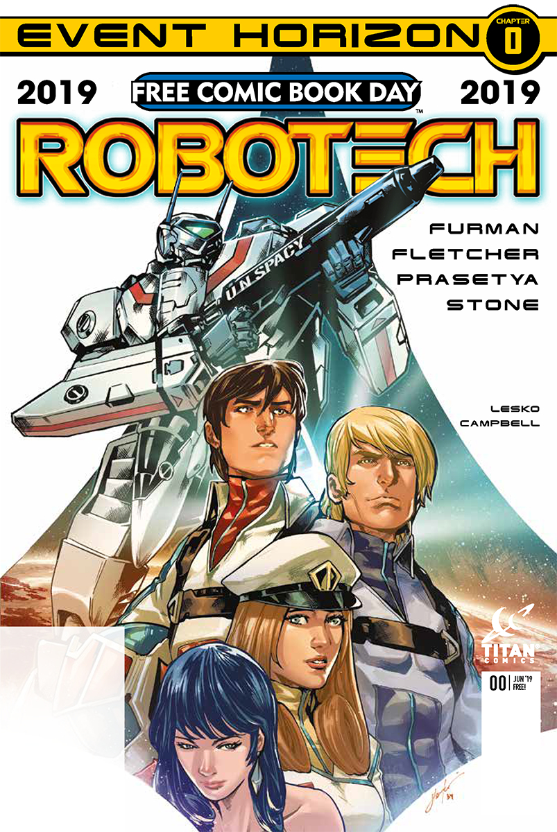 Cover for Robotech, Free Comic Book Day 2019 - A robot with a gun and a group of space travelers staring in the distance