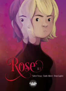 Cover for Rose Book 1 - A young adult blonde frowns at the viewer, with a transparent purple version of herself half-superimposed over her face