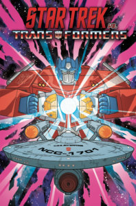 Star Trek vs Transformers Cover A by Jack Lawrence. Published by IDW Publishing. June 5, 2019 - Optimus Prime faces off against the USS Enterprise, holding a white orb between his hands