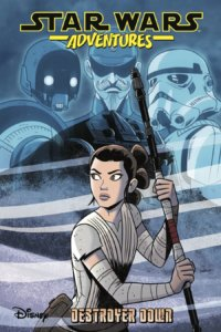 Star Wars Adventures: Destroyer Down Cover by Derek Charm. Published by IDW Publishing. June 5, 2019 - Rey looks away, holding her staff, with portraits of three enemies in light blue behind her