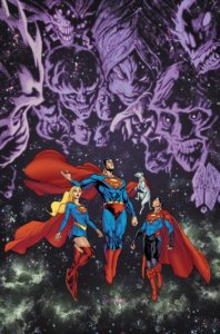 Cover for Supergirl #31 - Superman, Supergirl, Superboy, and Krypto in space with the ghosts of Krypton's enemies behind them