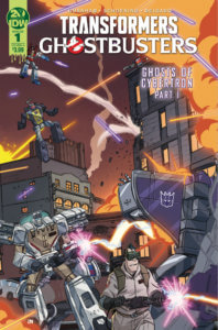 Cover for Transformers/Ghostbusters #1: Ghosts of Cybertron - A Transformer and Ghostbuster fire weapons against the background of a city in battle